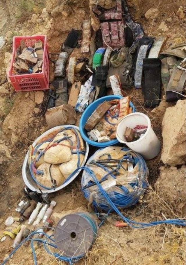 15th Division's Intelligence section seized 20 suicide belts, 8 bags of C4 material, 10 rounds for drones, 12 hand grenades, 60 pressure plate IEDs, and 2 spools of Det Cord in Ayadiyah