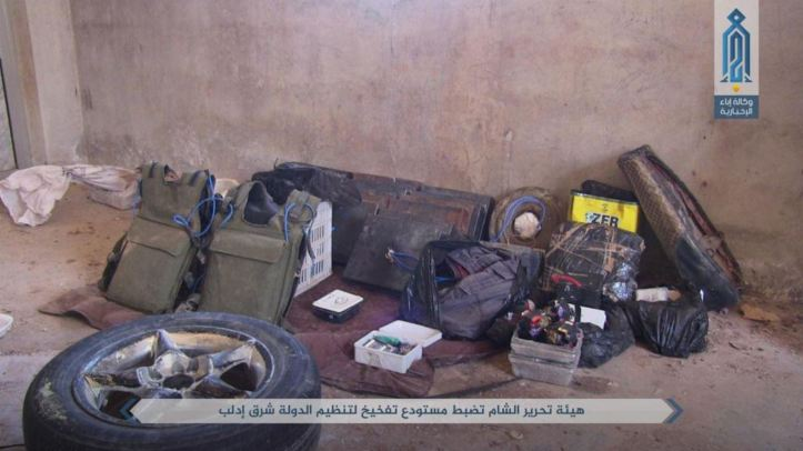 Hitch publishes photographs of what it says is a warehouse containing two cars and dozens of IEDs belonging to the Islamic State of East Idlib (2)