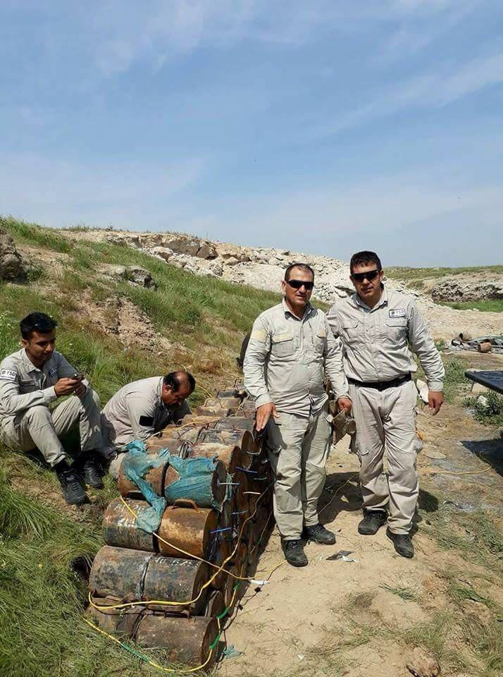 Islamic State-made IEDs collected and destroyed by Mine action group in #Iraq 2