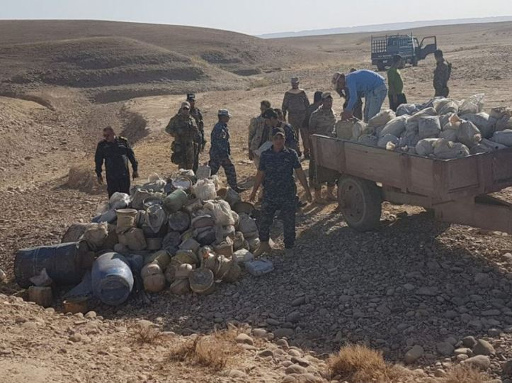 Shirqat Police and Salahuddin Intelligence uncovered an IED factory in Asbih village, near Zab town. 500 canisters total were destroyed (1)2