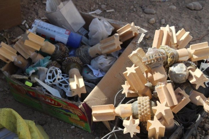 Syrian forces seize ISIS weapons and electronics in Raqqa, Syria. In the cache were a handful of UAS bomblets with fragmentation and wooden tail fins, not a super common combination. Als