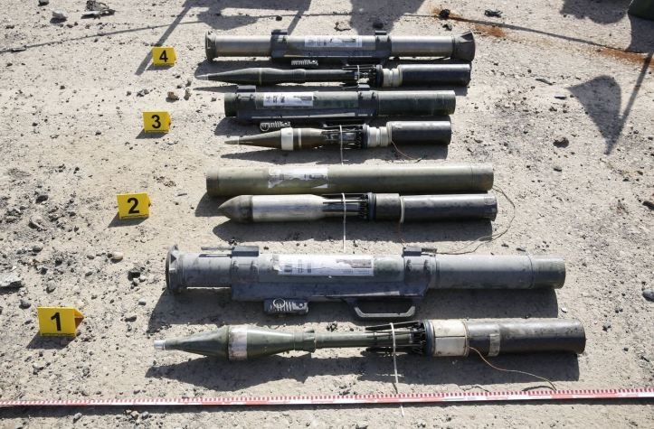 A series of shoulder-fired, recoilless launchers made by the Islamic State, shown with a variety of repurposed projectiles. ISIS weapons engineers took Soviet-era munitions and made West