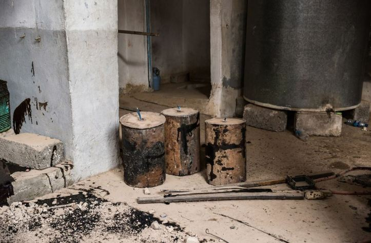 IEDs seen in a ISIS weapons factory in Tal Afar