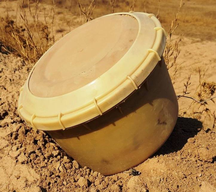 This Improvised Landmine (ILM) is fabricated by ISIS on a large scale. This appears to be the 4th generation of ILM IED used in defensive minefields around fighting positions close to ci