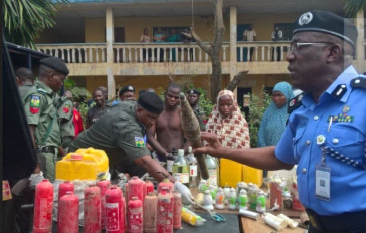 Edo Police uncover bomb factory, parade suspects, recover IEDs (1)