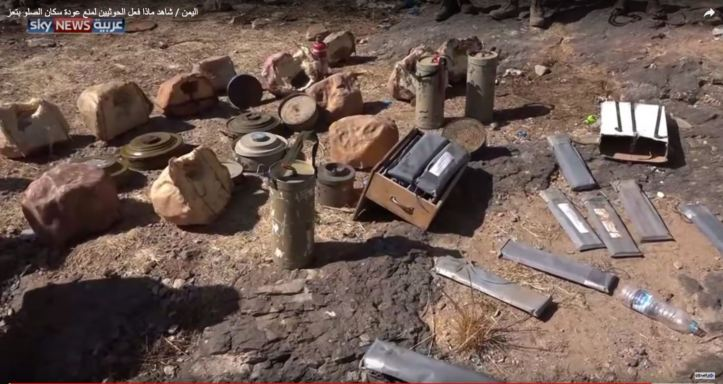 Houthis are leaving behind IEDs, mines, and booby traps disguised as rocks as they retreat in Taiz, yemen