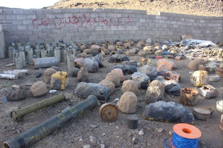 Pro-Hadi forces showed captured Houthi mines and stone-IEDs in #Saada (1)