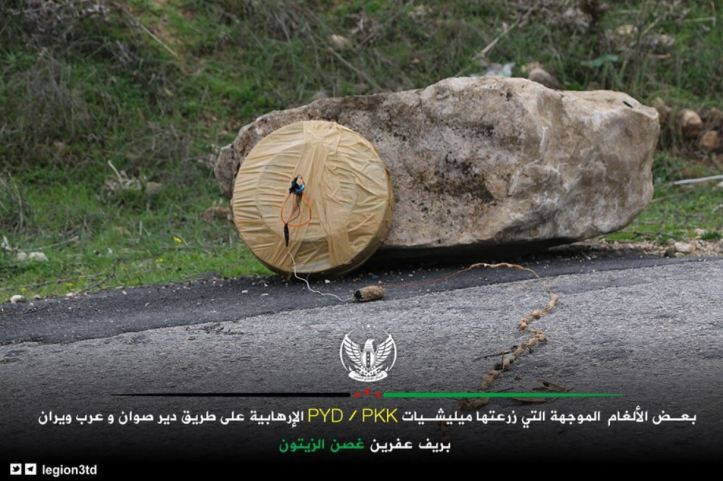 Olive Branch forces (FSA Third Legion) showcase mines and IEDs left by the #PKK affiliate YPG near Deyr Sawan town in Afrin countryside of #Syria (1)