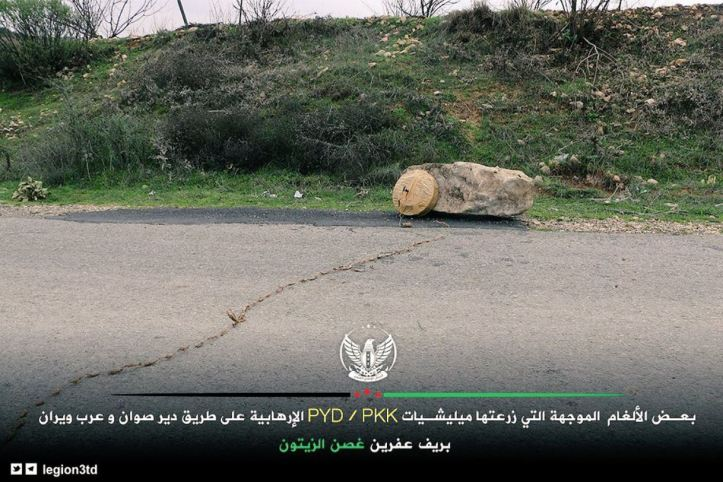 Olive Branch forces (FSA Third Legion) showcase mines and IEDs left by the #PKK affiliate YPG near Deyr Sawan town in Afrin countryside of #Syria (2)