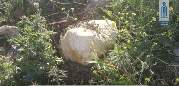 HTS media reports that they recently removed three stone camouflaged IEDs near Kafr Karmin, #Syria (1)