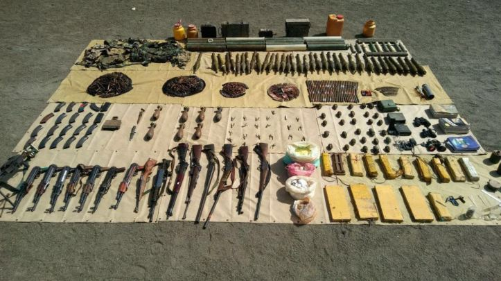 In another IBO inJanjol Forest near Dossali, North Wazirstan. A large quantity of weapons and ammunition including explosives, IEDs, communication equipment, detonators recovered