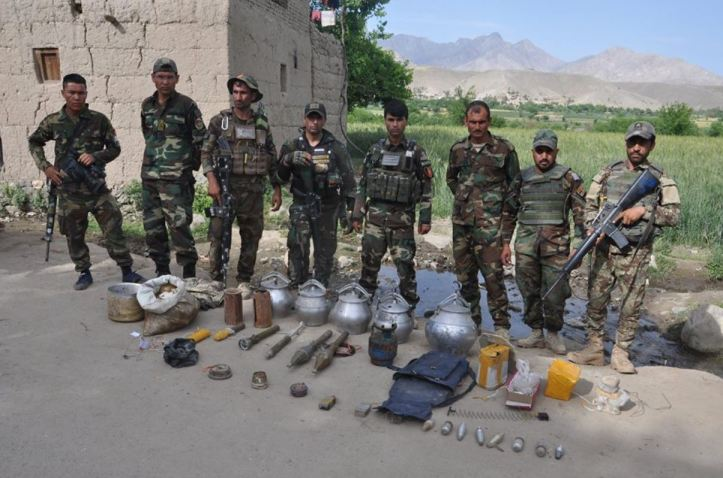 Personnel with 1st Brigade of 201st Corps destroyed scores of Improvised Explosive Devices (IEDs) discovered during the ANDSF clearance operations in Alishang valley of Laghman Province.