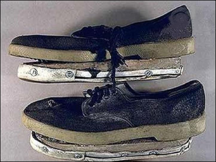 unabomb - THESE SHOES WERE MADE BY TED IN A BRILLIANT IDEA HE HAD TO DISGUISE HIS FOOTPRINTS.