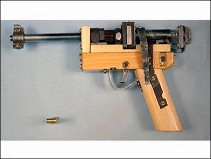 UNABOMBER. HE BUILT THIS GUN TO USE FOR SELF-DEFENSE AND TO HUNT SMALL GAME WHILE HE LIVED IN HIS CABIN NEAR LINCOLN MONTANA